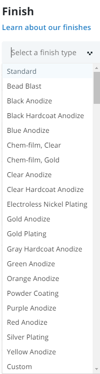 21 finishes offered in the online quoting platform dropdown menu
