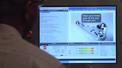 Haas machine numerical control inputs displayed on a touchscreen