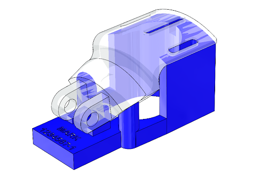 A 3D printable jig (blue) designed to hold a part in place (translucent gray) for consistent marking