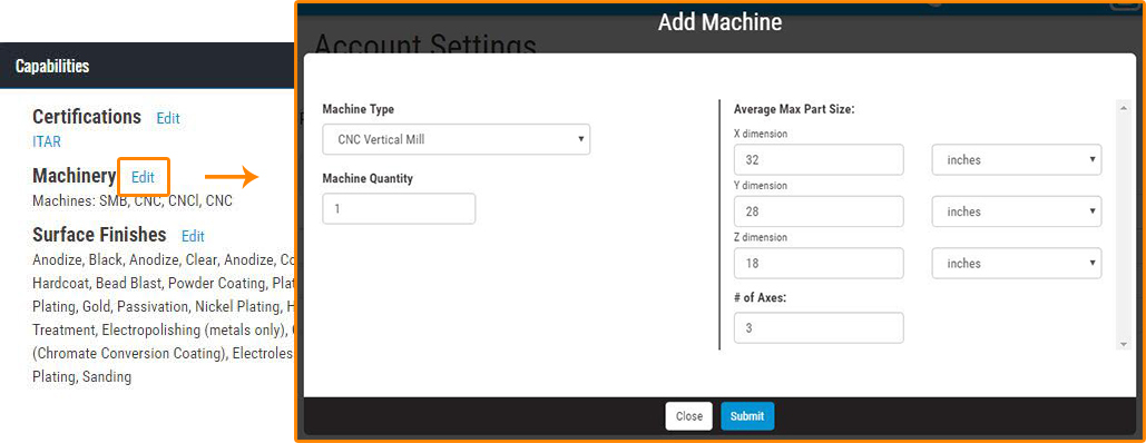 Xometry Partner Portal - Add Machine