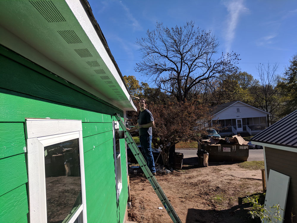 Xometry employee volunteering for Habitat for Humanity, Durham, North Carolina.