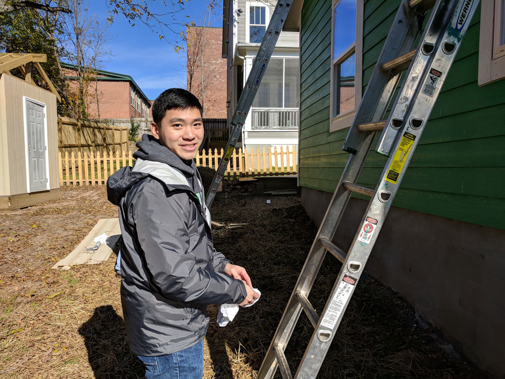 Xometry employee volunteering for Habitat for Humanity, Durham, N.C.