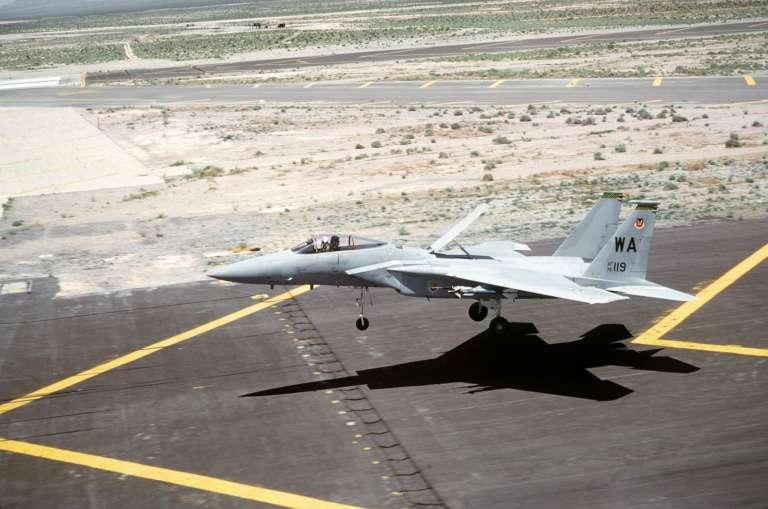 Source: https://en.wikipedia.org/wiki/Air_brake_(aeronautics)#/media/File:F-15_Eagle_landing_with_the_speed_brake_up.jpg