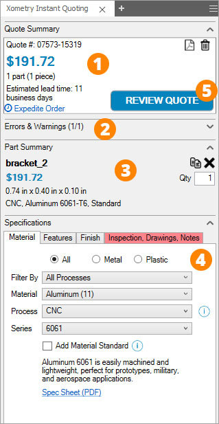Xometry Instant Quoting Engine Add-In for Autodesk Inventor - Add-In Panel (Annotated)