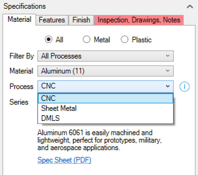 Xometry Instant Quoting Engine Add-In for SOLIDWORKS - Material Tab with Process Drop-Down Open