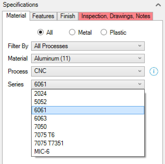 Xometry Instant Quoting Engine Add-In for SOLIDWORKS - Material Tab with Series Drop-Down Open