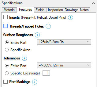 Xometry Instant Quoting Engine Add-In for SOLIDWORKS - Features Tab