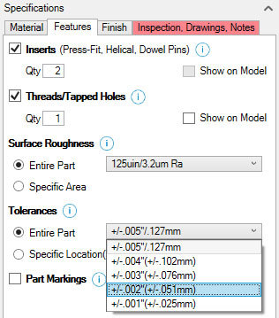 Xometry Instant Quoting Engine Add-In for SOLIDWORKS - Features Tab with Inserts and Threads/Tapped Holes Checked, Tolerance Drop-Down Open