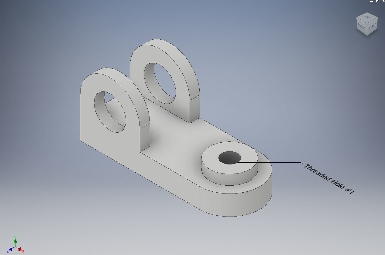 Xometry Instant Quoting Engine Add-In for Autodesk Inventor - Simple Bracket Model with Threaded Hole #1 Called Out