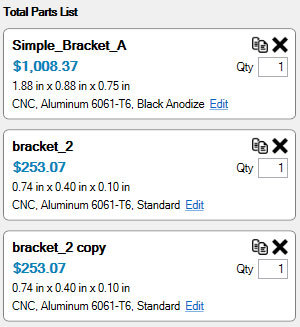 Xometry Instant Quoting Engine Add-In for Autodesk Inventor - Total Parts List with Three Bracket Parts
