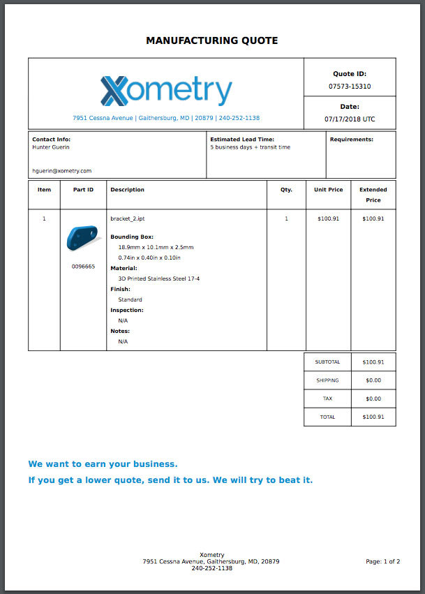 Xometry Instant Quoting Engine Add-In for SOLIDWORKS - PDF Quote