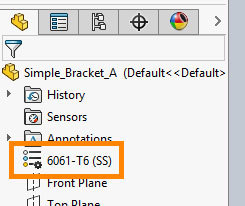 Xometry Instant Quoting Engine Add-In for SOLIDWORKS - Design Tree with Edit Material Button Highlighted