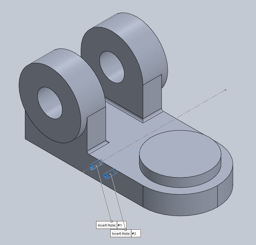 Xometry Instant Quoting Engine Add-In for SOLIDWORKS - Insert Holes Visible and Labeled on Simple Bracket Model