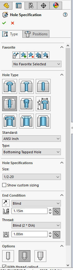 Xometry Instant Quoting Engine Add-In for SOLIDWORKS - HoleWizard with Hole Type: Straight Tap, Standard: ANSI Inch, Type: Bottom Tapped Hole, and Size: 1/2-20 Selected