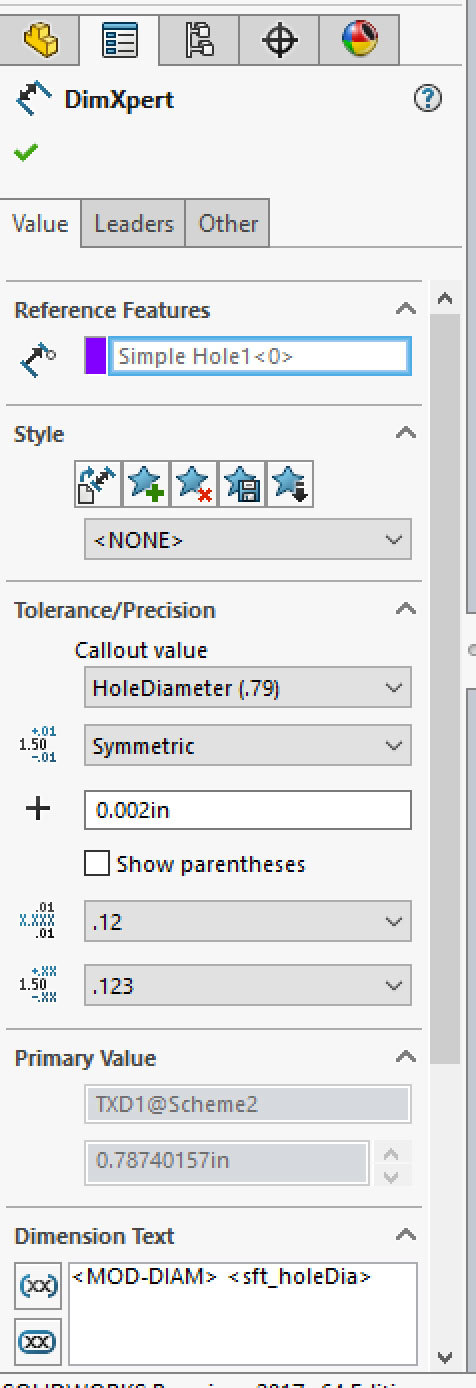Xometry Instant Quoting Engine Add-In for SOLIDWORKS - DimXpert Manager with Tolerance/Precision Callout Value: Symmetric .002, Dimension Precision: .123, and Tolerance Precision: .123