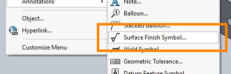 Xometry Instant Quoting Engine Add-In for SOLIDWORKS - Surface Finish Symbol Button Highlighted in Annotations Sub-Menu