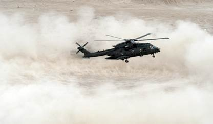 Helicopter's stir up a large dust cloud when landing or hovering.