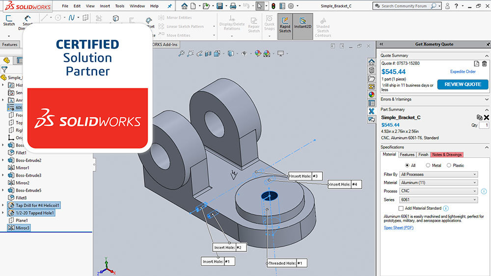 Xometry Instant Quoting Engine Add-In for SOLIDWORKS