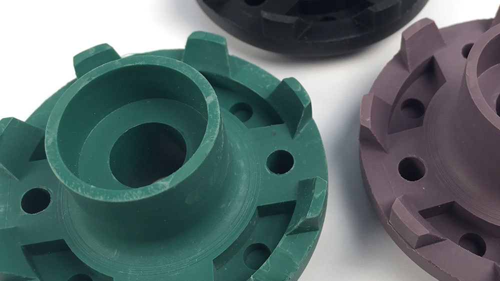 Close-up photo of cast urethane bearings in different colors